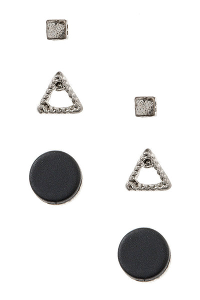 Round Cube and Triangle Stud Earring Set - Worn Silver