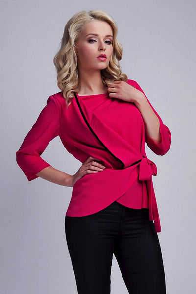 3/4 Sleeve Wrap Front Blouse