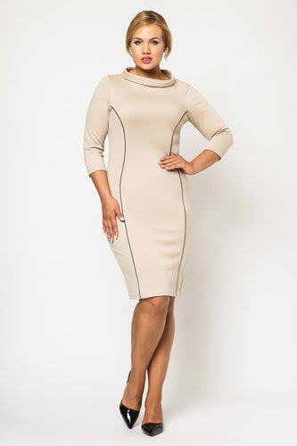 Boat Neck Fitted Midi Dress