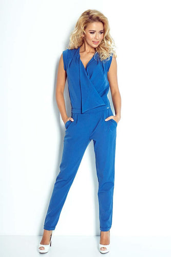 Sleeveless Wrap Front Tapered Jumpsuit