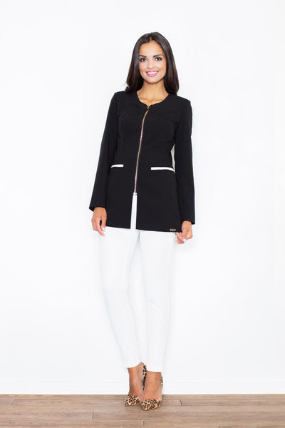Collarless Trimmed Zip Up Longline Blazer