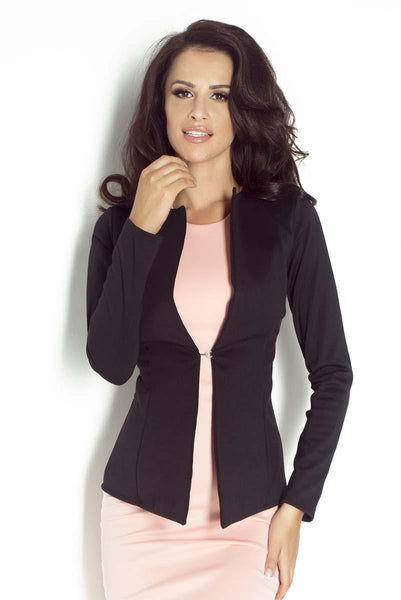 Black Collarless Single Button Blazer