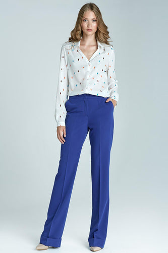 Blue Pleated Bootcut Long Pants