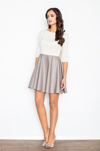 3/4 Sleeve Color Block Skater Mini Dress