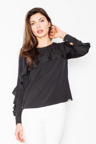 Long Sleeve Ruffle Shift Top Blouse