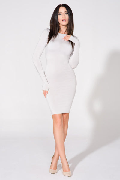 Grey Scoop Back Long Sleeve Bodycon Mini Dress