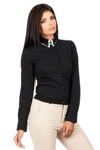Black and White Trimmed Collar Executive Shirt