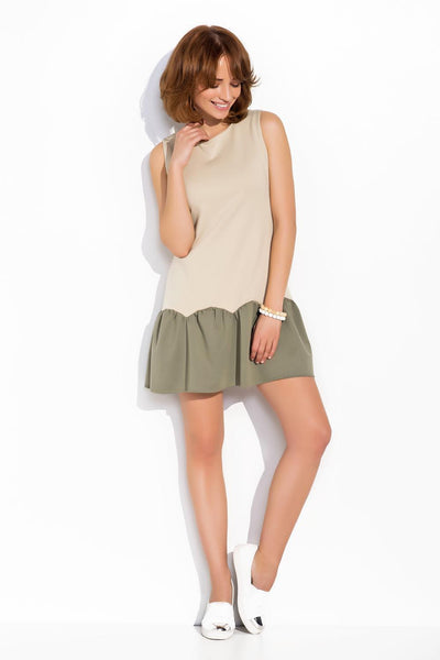 Beige and Olive Ruffle Hem Relaxed Mini Dress