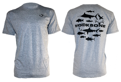 Grey short sleeve HOOKBONE shirt with the Original 12 design on the back