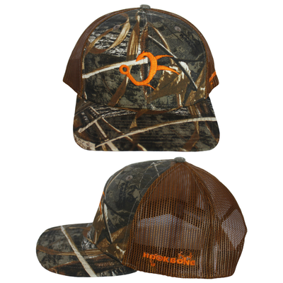 Realtree Max5 Camo Neon Oranger and Brown Trucker Hat