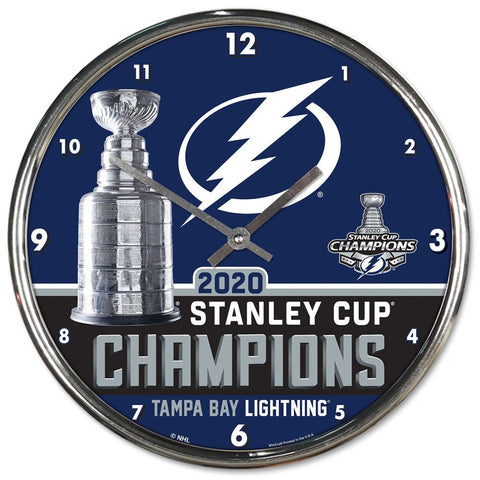 "Tampa Bay Lightning 2020 Stanley Cup Champions Chrome Wall Clock 12"" - Fan Shop TODAY"