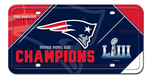 New England Patriots Super Bowl LIII Champions Metal License Plate Auto Tag - Fan Shop TODAY