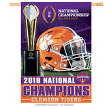 "Clemson Tigers 2018 National Champions Banner Flag 28"" x 40"" - Fan Shop TODAY"