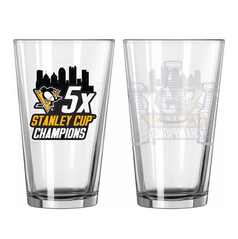 Pittsburgh Penguins 5X Champions 16oz. Pint Glass - Fan Shop TODAY