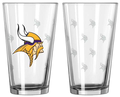 Vikings NFL Satin Etched 16oz. Pint - 2 Glass Set - Fan Shop TODAY