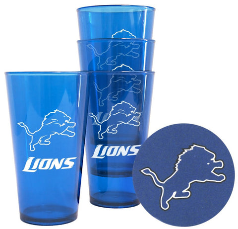 Lions NFL Plastic Pint Glass with Coasters Set - Fan Shop TODAY