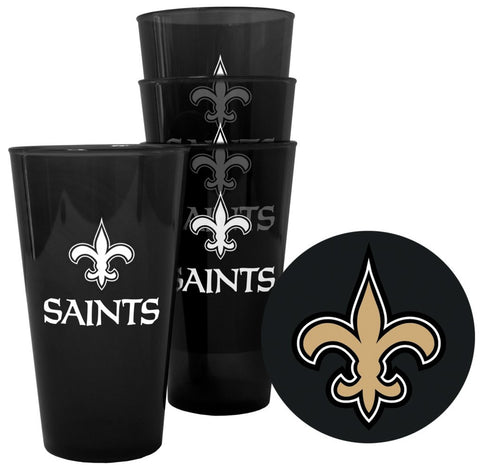 New Orleans Saints NFL Plastic Pint Glass with Coasters Set - Fan Shop TODAY
