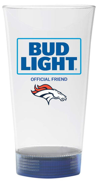 Denver Broncos Bud Light Touchdown Glass - Blinking LED 24oz. - Fan Shop TODAY