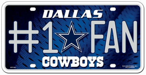 Cowboys NFL Metal License Plate #1 FAN - Fan Shop TODAY