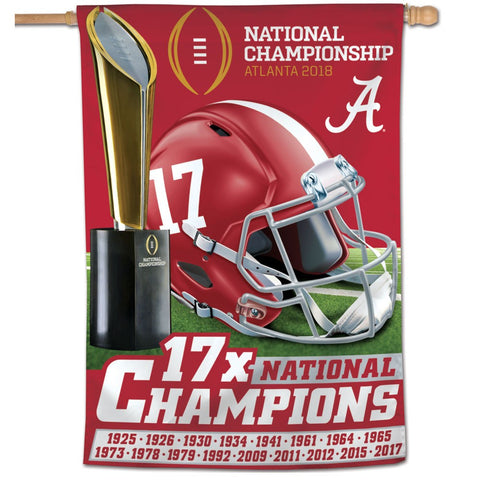 Alabama Crimson Tide College Football 2017 National Champions Vertical Banner - Fan Shop TODAY