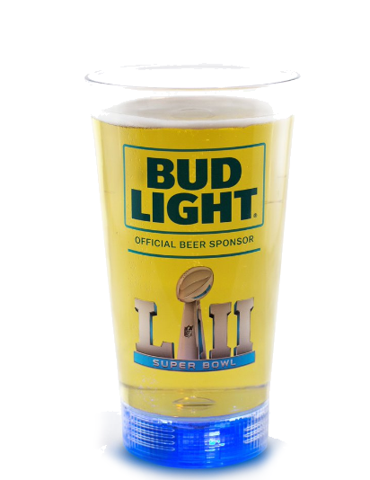 "Super Bowl LII 52 Bud Light  LED ""Touchdown Glass"" 24oz. - Fan Shop TODAY"
