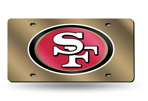 49ers NFL Mirror Laser Tag License Plate (Gold) - Fan Shop TODAY