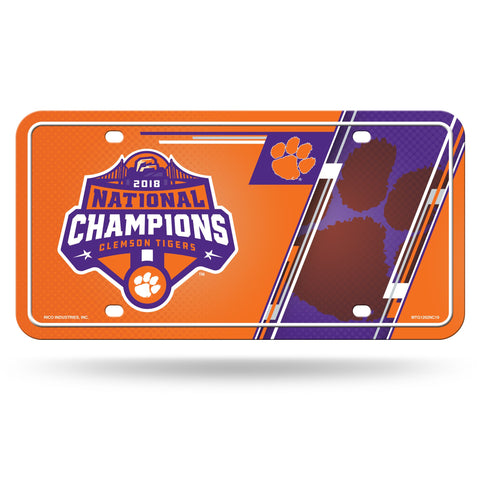 Clemson Tigers 2018 National Champions Metal License Plate Tag - Fan Shop TODAY
