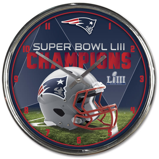 New England Patriots Super Bowl LIII Champions Chrome Wall Clock - Fan Shop TODAY