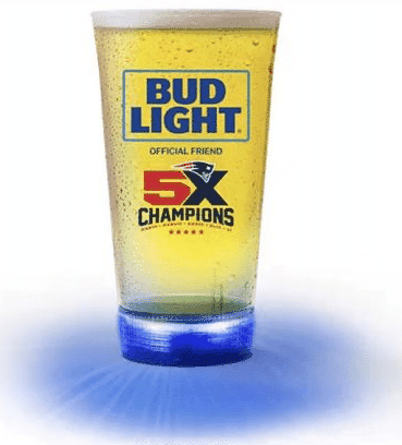 New England Patriots Bud Light Touchdown Glass 5X Champions   Blinking LED  24oz.   Fan