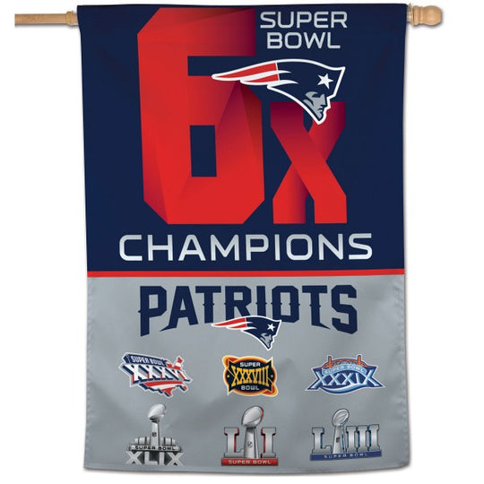 "New England Patriots 6 Time Super Bowl Champions Vertical Flag 28"" x 40"" - Fan Shop TODAY"