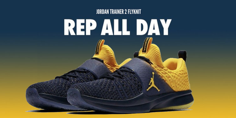 the latest b7e32 bfca8 Michigan Wolverines Nike AIR Jordan Trainer 2 Flyknit ...