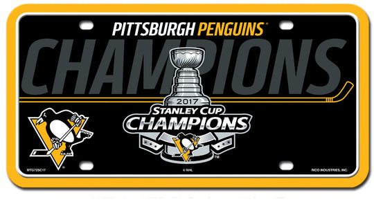 Penguins NHL 2017 Stanley Cup Champions - Metal License Plate - Fan Shop TODAY