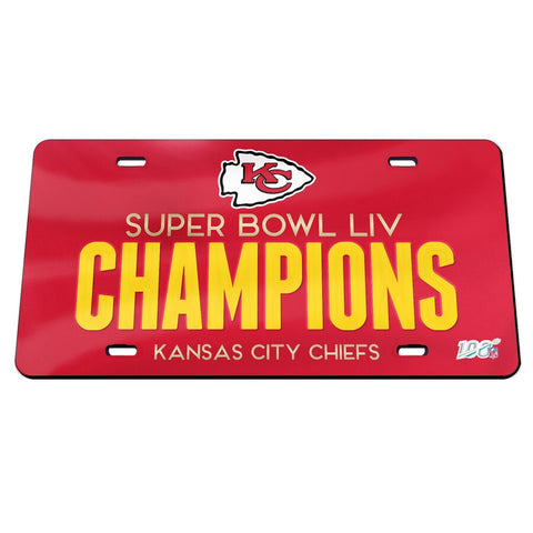 Kansas City Chiefs Super Bowl LIV Champions Laser Cut License Plate - Fan Shop TODAY