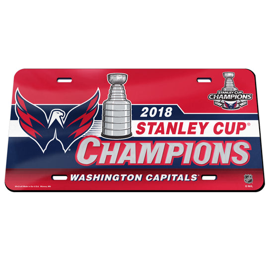 Washington Capitals 2018 NHL Stanley CUP Champions Acrylic Mirror License Plate - Fan Shop TODAY