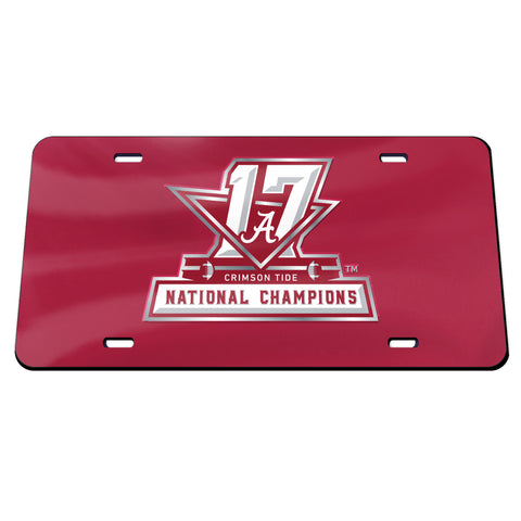 Alabama College Football 2017 National Champions Crystal Mirror License Plate - Fan Shop TODAY