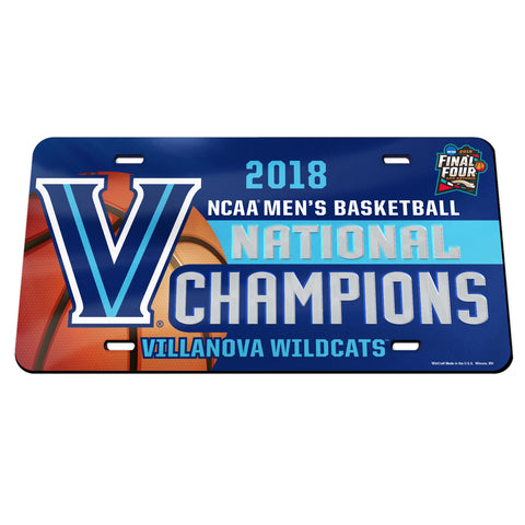 Villanova Wildcats 2018 NCAA Men's Basketball National Champions License Plate - Fan Shop TODAY