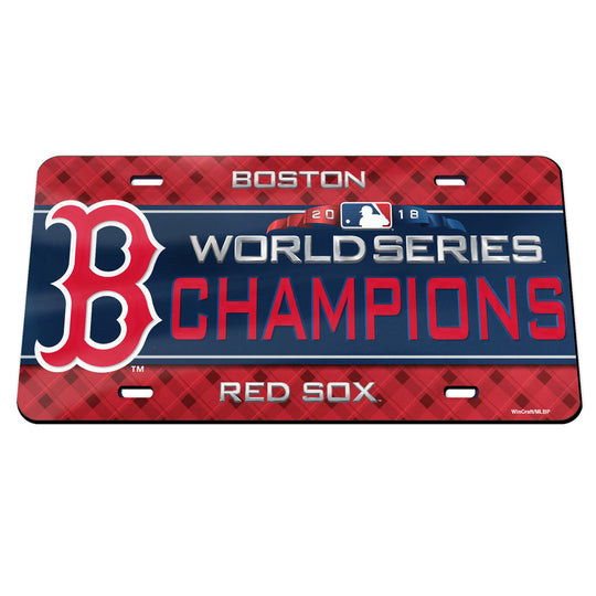 Boston Red Sox 2018 World Series Champions Mirror License Plate - Fan Shop TODAY