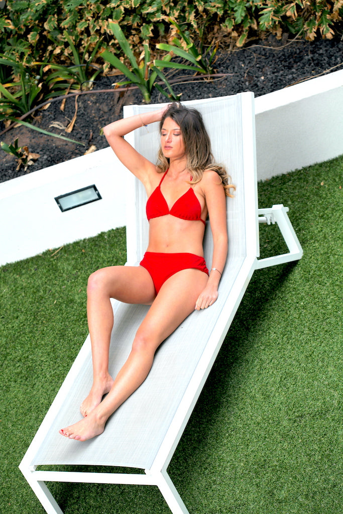 Tilly Mid Waist Bottoms Red - swimm