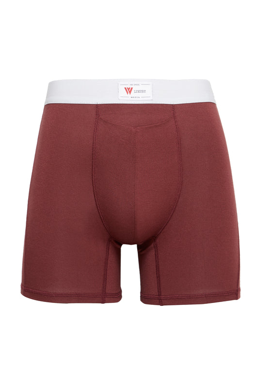 luxury mens underwear with pocket oxblood red modal boxer briefs 3 stripe soft waistband front view