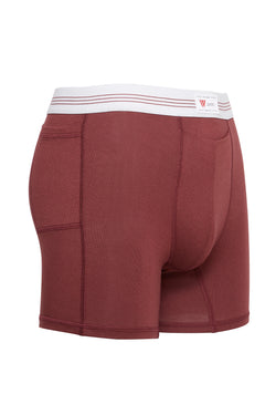 luxury mens underwear with pocket oxblood red modal boxer briefs 3 stripe soft waistband