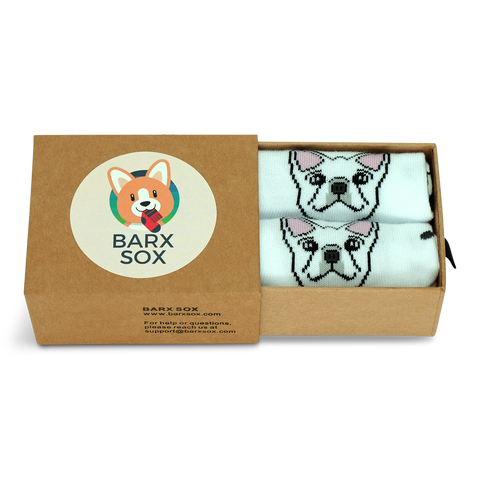 BARX SOX White Frenchie Socks - Box Image
