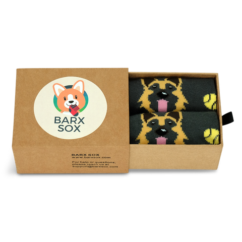 BARX SOX Grey German Shepherd Socks - Box Image