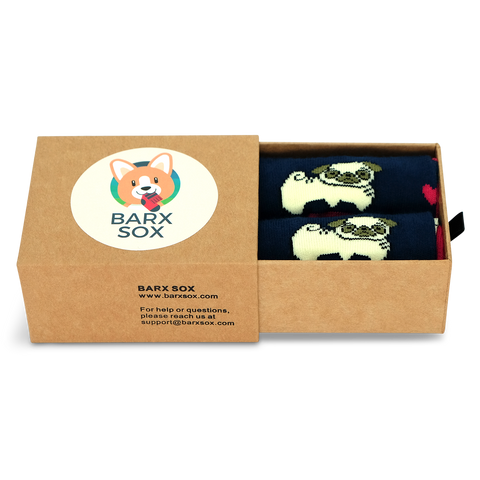 BARX SOX Navy Pug Socks - Box Image