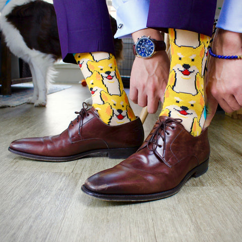 BARX SOX Yellow Shiba Inu Socks - Business Professional