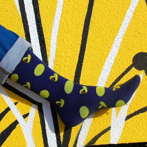 BARX SOX Navy Blue Dachshund Socks - Yellow Background