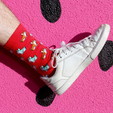BARX SOX Red Corgi Socks - White Shoes