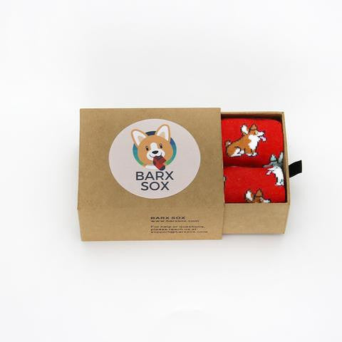 BARX SOX Red Corgi Socks - Box Image