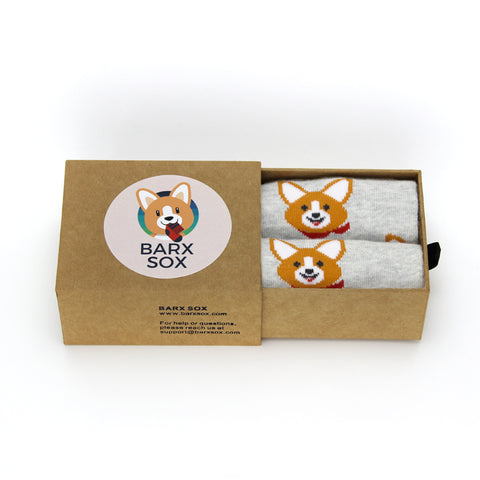BARX SOX Grey Corgi Socks - Box Image
