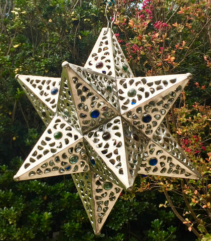 "14"" Silver color star lamp"