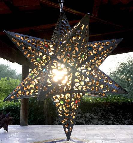 "18"" Bronce color star lamp"
